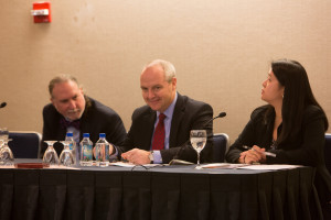 From right: Grace Wu de Plaza, deputy ethics and compliance Officer, the Nature Conservancy; Gary Sheffer, vice president, Corporate Communications and Public Affairs, General Electric; and  Dr. Edward Queen, director, Ethics and Servant Leadership Program, Emory University Center for Ethics.