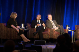 Holly J Gregory, partner at Sidley Austin, moderates the opening keynote at the 2014 GES, which featured Larry Thompson, executive vice president, government affairs, general counsel and corporate secretary of PepsiCo; and  Randal Milch, executive vice president, public policy and general counsel for Verizon.