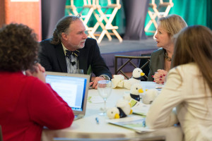 AECOM's Susan Frank Divers, right, talks with Dr. Edward Queen, director of the Ethics and Servant Leadership Program, The Center for Ethics, Emory University, during last year's Best Practices in Ethics Communications Workshop.