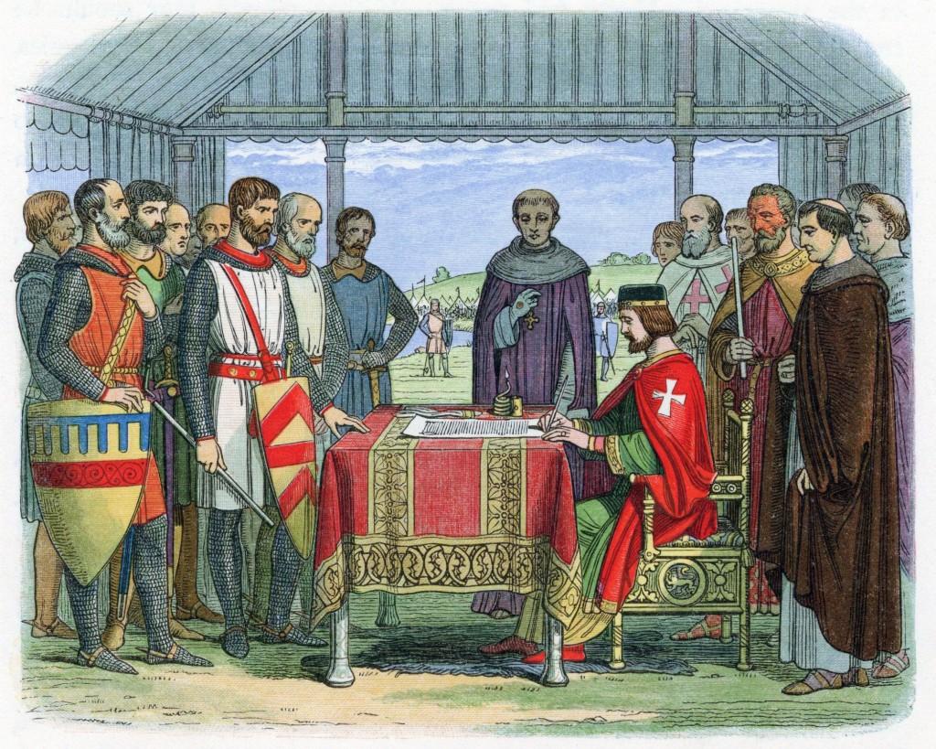 King John signing Magna Carta, England, 1215