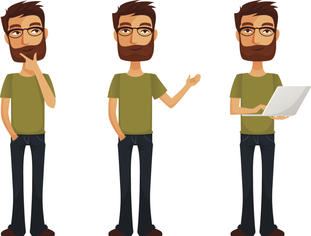cartoon guy with beard and glasses