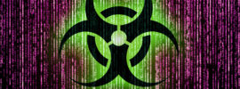 Symbol of computer infection in matrix