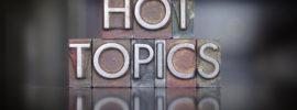 The words Hot Topics written in vintage letterpress type