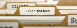 Investigations Concept. Word on Folder Register of Card Index. Selective Focus.